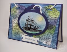 Angela Lorenz - Scalloped Tag Topper Punch - Ovals Framelits Stampin Up, World Map