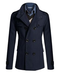 Mens Coat Double Breasted Solid Slim Long Sleeve Mens Coat Discount Online Shopping