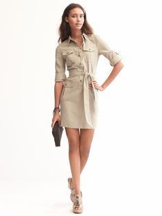feminine military shirt dress