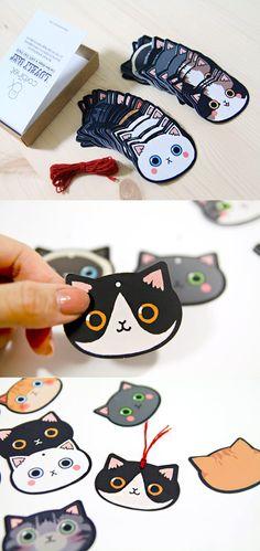 100pcs Mini Kitty Face Tag Set