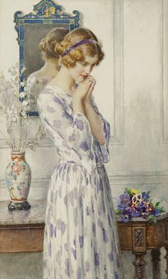 """PLUNGED IN THOUGHT"" Artist: William Henry Margetson (1861-1940) 421x700"