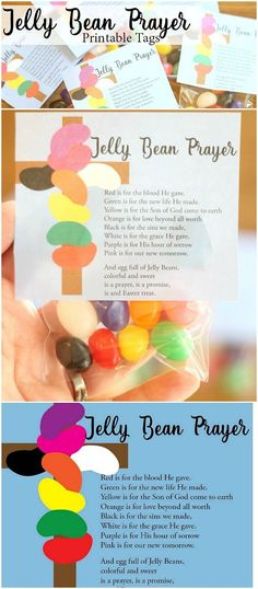 Jelly bean prayer--free tags for easter. easter crafts for kidseaster Easter Projects, Easter Crafts For Kids, Preschool Crafts, Easter Craft Sunday School, Easter Ideas, Easter Crafts For Preschoolers, Easter Activities For Kids, Nursery Activities, Abc Activities