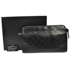 Chanel Vintage Quilted BLACK Clutch