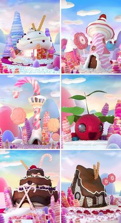 Candy houses on Behance - Reiseziele , Hansel Y Gretel, Candy House, Candy Art, Affinity Designer, Environment Concept Art, Chocolate Factory, Candy Shop, Flat Design, Game Design
