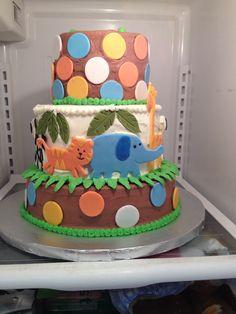 Jungle Theme boy baby shower cake