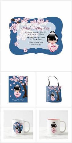 White Kimono Kokeshi Party Supplies #cute #kokeshi #geisha