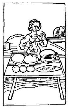 A Feast For The Eyes  17. Woman with variously shaped loaves of bread. From Medieval Life Illustrations.
