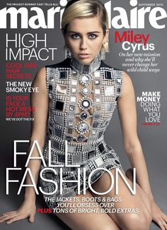 Pop star Miley Cyrus makes an appearance on the September 2015 cover of Marie Claire US. Photographed by Mark Seliger, Miley wears mod inspired style with a… Vogue Japan, Vogue Uk, Miley Cyrus, Anna Wintour, Kristen Stewart, Vanity Fair, Marie Claire Magazine, Happy Hippie Foundation, Cool Magazine