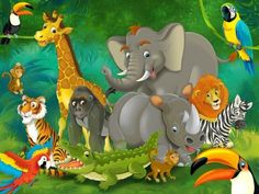 Jungle animals wall decoration - Mural jungle and animals Motif - XXL wallpaper for child's room/nursery by GREAT ART (55 Inch x 39.4 Inch)