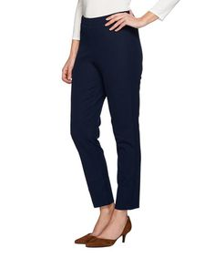 Loving this Navy Multi-Stretch Pants - Plus Too on #zulily! #zulilyfinds