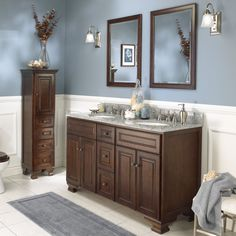 Foremost Hawthorne 60 in. Dark Walnut Double Bathroom Vanity with Mirrors - The Foremost Hawthorne 60 in. Dark Walnut Double Bathroom Vanity with Mirrors has a wide, elegant frame that makes an ideal traditional-style his-and-her. Bathroom Wall Colors, Wood Bathroom, White Bathroom, Bathroom Furniture, Bathroom Ideas, Dark Furniture, Ikea Bathroom, Wainscoting Bathroom, Mirror Bathroom