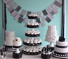 Nothing is more chic than a black and white cake spread made by Bake Sale
