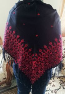 Palestinian embroidery tatreez shawel red color