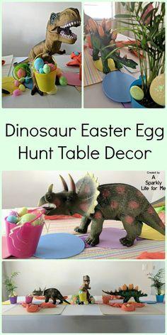 Dinosaur Easter Egg Hunt Table Decor with DIY Easter egg table runner (with video tutorial) #easter #tutorial #videotutorial #dino #uniqueholiday #unusualholiday #easteregghunt #tabledecor #holiday #holidaydecor #diy