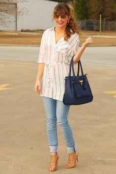 Luck Of The Draw Tunic: White/Navy #shophopes