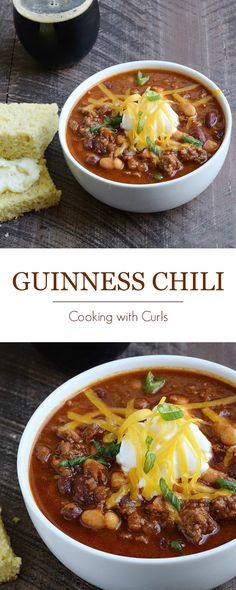 Guinness® Chili is perfect for St. Patrick's day, game day, or to warm up on a cold winter night | cookingwithcurls.com