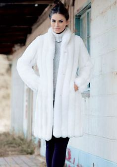 Horizontal Knee-Length Faux Fur Coat | Faux fur | Pinterest | Fur coat