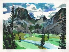 Square Top Mountain Colorado. Watercolor. 11 x by JohnKlineArtwork
