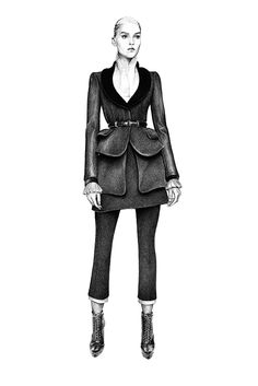 T. S. Abe | Week 1/Eduardo | Brixton | Mechanical and generic pencils | McQueen for Breakfast | I love the texture of the garment and how she's been able to create that feeling of sheen and also good line work.
