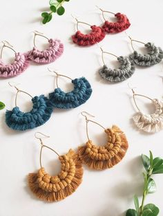 Your place to buy and sell all things handmade - A Million Miles Away // Macrame Earrings Macrame Jewelry Etsy Macrame, Macrame Art, Macrame Projects, Micro Macrame, Diy Macrame Earrings, Macrame Jewelry, Diy Earrings, Crochet Earrings, Diy Jewelry To Sell