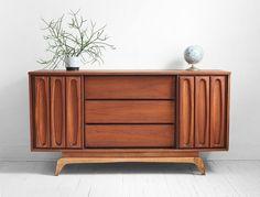 Vintage Walnut Credenza - Mid Century, Modern, Wood, Buffet, Cabinet, Dresser. $895.00, via Etsy.