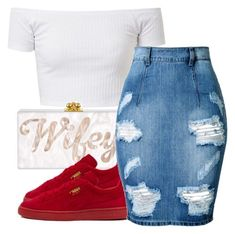 A fashion look from November 2016 featuring Puma sneakers. Browse and shop related looks. Cute Swag Outfits, Dope Outfits, Skirt Outfits, Stylish Outfits, Fashion Mode, Fashion Killa, Sneakers Fashion Outfits, Teen Fashion Outfits, Polyvore Outfits