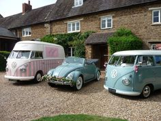 Not one but three beautiful vw's Florence our vintage vw ice cream van is in great company  ~ vintage ice cream van hire & wedding hire ♡ http://www.pollys-parlour.co.uk/
