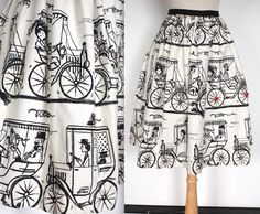 Vintage 1960s Skirt // 50s 60s Cartoon Edwardian Automobile Circle Skirt // Model T Novelty Print Skirt // DIVINE by TrueValueVintage on Etsy