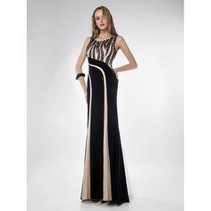 Φόρεμα μακρύ βραδινό με κεντημένο μπούστο