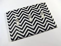 CUSTOM MADE OUTLETS!!! Fabulous. Remix Chevron Black and White Triple Light Switch by ModernSwitch, $8.00