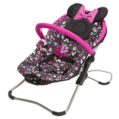 Disney Baby Minnie Mouse Folding Musical Bouncer Help your baby drift off to sleep with the Minnie Pop Bouncer from Disney. This comfy bouncer features a padded head rest and 3-point harness that keep