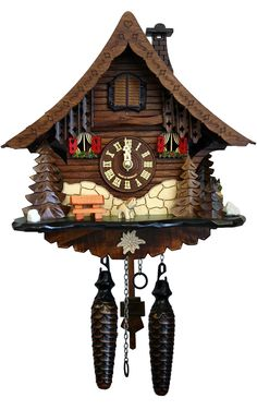 Loon Peak Battery-Operated Wood Cuckoos Wall Clock click store link for more information or to purchase the item Swiss Clock, Coo Coo Clock, Rustic Comforter, Swiss Chalet, Chalet Style, Wall Clock Online, Bear Decor, Tabletop Clocks, Cool Clocks