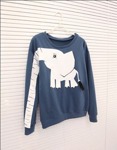 Elephant Print Long Sleeves Color Block Sweet Style Cotton Blend Women's SweatshirtVintage T-shirts | RoseGal.com