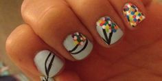 Up Up And Away This nail art was inspired by a movie. The materials used to create this nail art are nail polish, tooth pick, old dried out marker, and a thin brush. I believe that with such simple materials, anybody can create a beautiful nail design.
