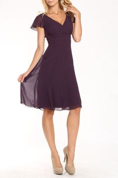 Liz Claiborne Siria Short Dress In Eggplant
