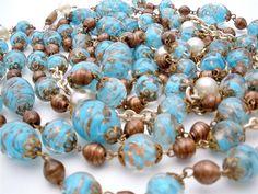 "Murano Venetian Aventurine Sommerso Blue Art Glass Flapper 76"" Necklace Vintage | eBay"