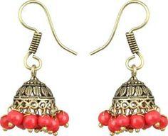 Waama Jewels Elegant Pair Of earring Adorned With Red Pearls Pearl Brass Jhumki Earring
