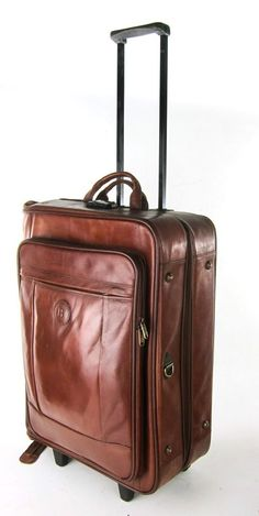 BARRY SMITH BROWN GENUINE LEATHER WHEELED ROLLING SUITCASE LUGGAGE GARMENT BAG #BarrySmith