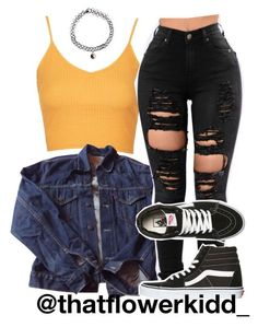 A fashion look from July 2017 featuring Topshop tops, Levi's jackets and Vans sneakers. Browse and shop related looks. Dope Outfits, Baddie Outfits Casual, Cute Swag Outfits, Cute Comfy Outfits, Grunge Outfits, Simple Outfits, Trendy Outfits, School Outfits, Teenage Girl Outfits