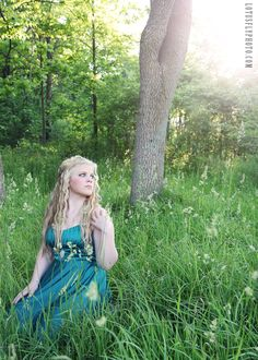 From today's photoshoot.  Such a beautiful girl!    woods, woodland, fairy tale, girl, blonde, green, dress, nature, portrait photography, Milwaukee photographer, LotusFly Photography