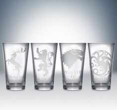 Friday Giveaway: Game of Thrones House Pint Glass Set by Partyware Inc. Our last glassware giveaway is today and it's a big one! George RR Martin's A Song of Ice and Fire series has become quite. Game Of Thrones Party, Game Of Thrones Houses, House Sigil, Fire Fans, Got Party, Geek Out, Shot Glasses, Fun Games, Pint Glass