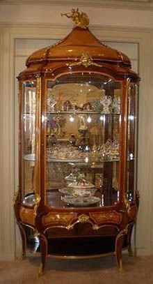 """A massive Louis XV style Display Vitrine by Krieger. Stamped Krieger Paris.19th century.Antoine Krieger, ébéniste (1804-1869). Height: 8ft. 10"""" inches, width: 58"""" inches, width: 21"""" inches #AntiqueFurnitureStyles"""