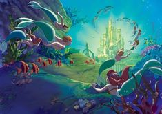 Disney Little Mermaid Wall Paper Mural Ariel Disney, Mermaid Disney, Princesa Disney, Disney Little Mermaids, Mermaids And Mermen, Ariel The Little Mermaid, Mermaid Art, Disney Dream, Walt Disney