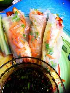 Fascination Creation - powered by food...: teriyaki chicken rice paper rolls.