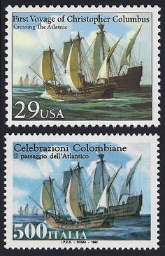 United States Scott #2621 (24 Apr 1992) Columbus' fleet crossing the Atlantic.  Joint issue: 500th Anniversary of the First Voyage of Christopher Columbus.  Italy Scott #1878 (24 Apr 1992) Columbus' fleet crossing the Atlantic.