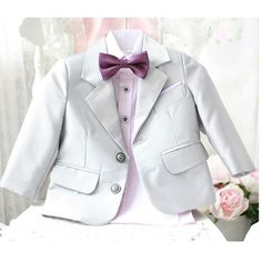Buy Baby Little Toddler Junior Boy Silver Gray Grey Tuxedo Dress Suit SKU-132083