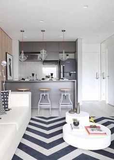 Space for two environments: 60 integrated projects (PHOTOS) rnrnSource by ideiasdecorsite Decor, House Design, Apartment Interior, Kitchen Decor, New Homes, Home Decor, Apartment Decor, Interior Design, Kitchen Design