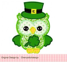 St Patrick's day owl 02  Applique 4x4 5x7 by CherryStitchDesign, $2.99