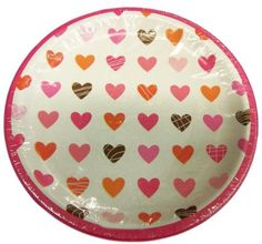 "Custom & Unique {9"" Inch} 8 Count Multi-Pack Set of Medium Size Round Circle Disposable Paper Plates w/ Cute Valentines Hearts Party Celebration Event ""White, Pink & Orange Colored"""