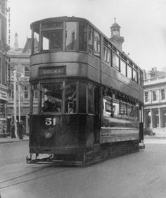 A tram bound for the docks on a Newport street